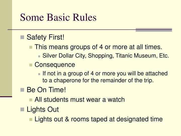 Some basic rules