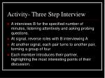 activity three step interview