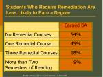 students who require remediation are less likely to earn a degree
