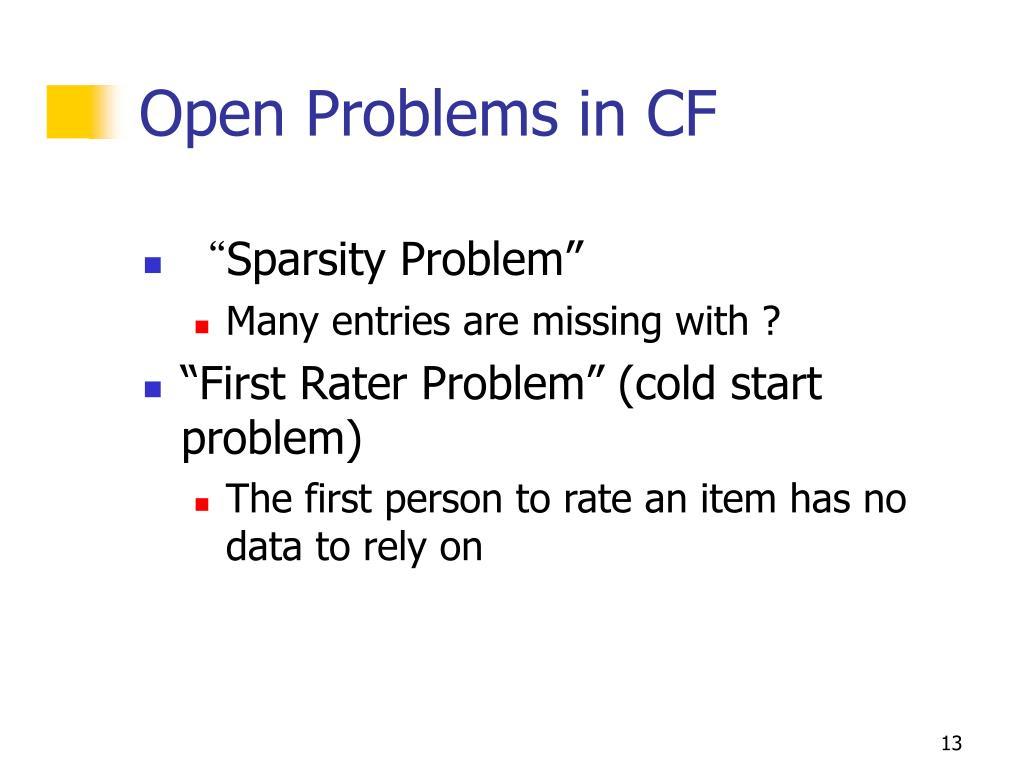 Open Problems in CF