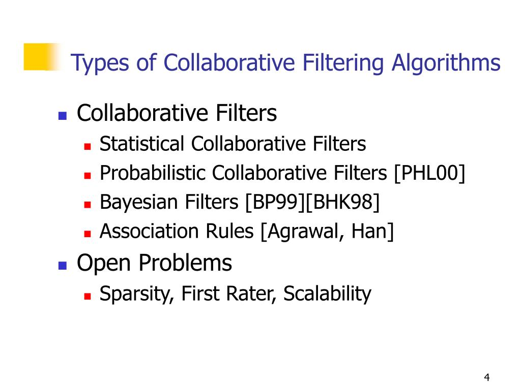 Types of Collaborative Filtering Algorithms