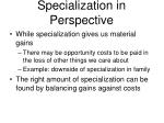 specialization in perspective