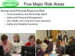 five major risk areas10