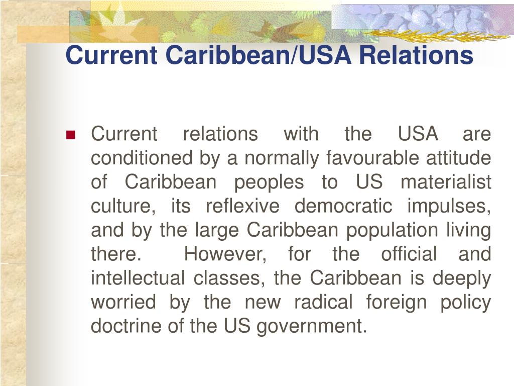 Current Caribbean/USA Relations