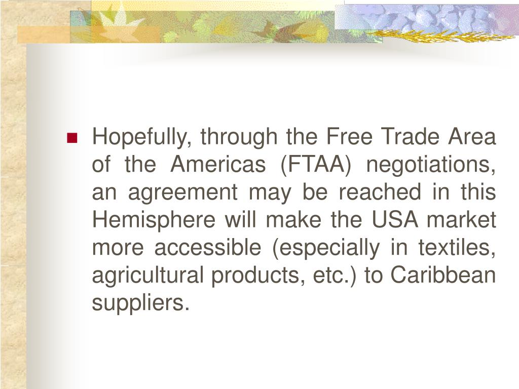 Hopefully, through the Free Trade Area of the Americas (FTAA) negotiations, an agreement may be reached in this Hemisphere will make the USA market more accessible (especially in textiles, agricultural products, etc.) to Caribbean suppliers.