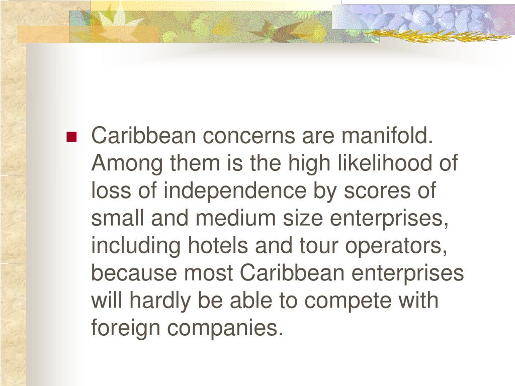 Caribbean concerns are manifold.  Among them is the high likelihood of loss of independence by scores of small and medium size enterprises, including hotels and tour operators, because most Caribbean enterprises will hardly be able to compete with foreign companies.