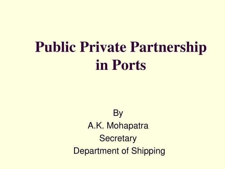 public private partnership in ports n.