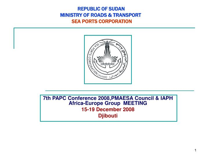 republic of sudan ministry of roads transport sea ports corporation n.