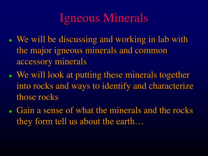 igneous minerals n.