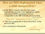 how are ieps implemented when a child changes leas