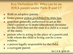 key definition 1 who can be an idea parent under parts b and c
