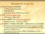 resources cont d