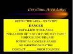 beryllium area label