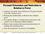 personal orientation and motivation in relation to power