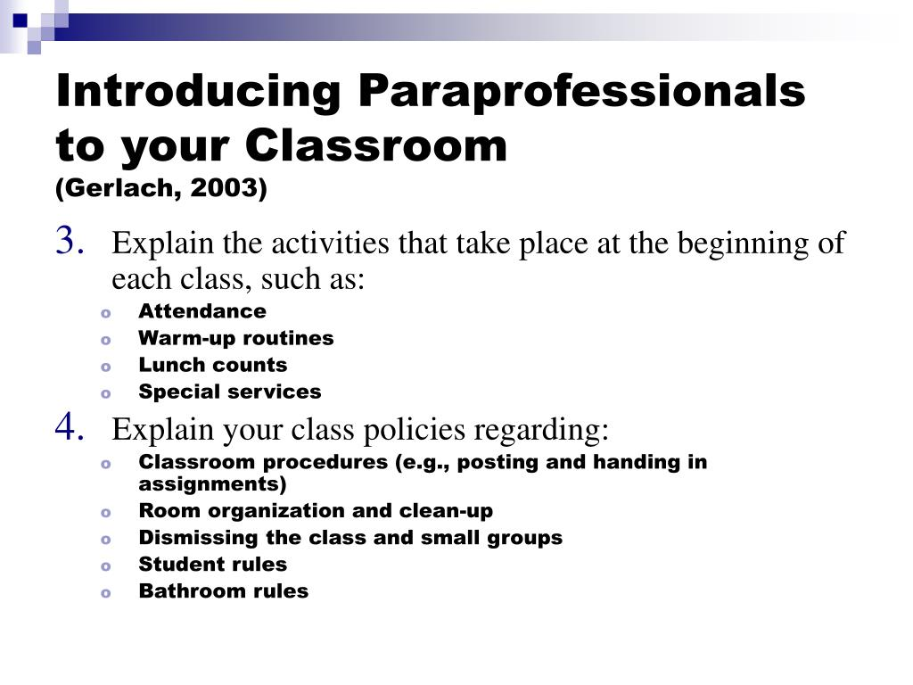 Introducing Paraprofessionals to your Classroom