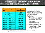 administrative determination of the official poverty line 2002