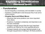 explaining stratification domestic level