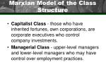marxian model of the class structure