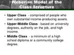 weberian model of the class structure
