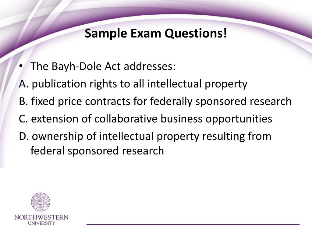 Sample Exam Questions!