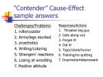 contender cause effect sample answers