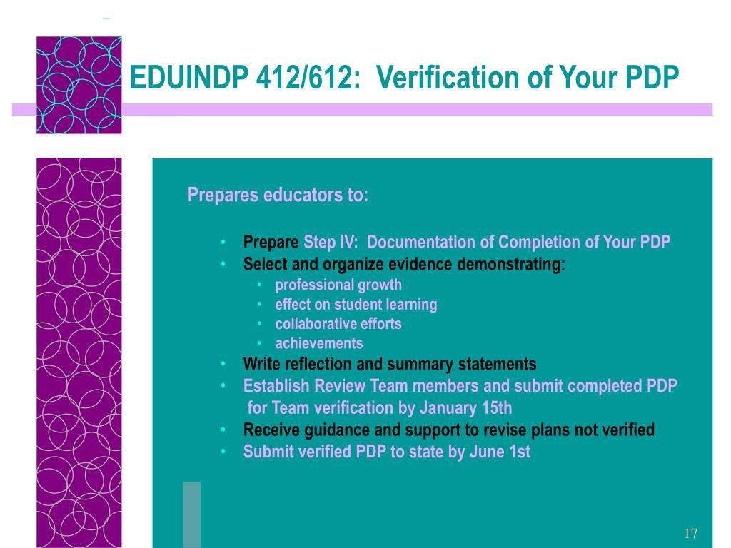 EDUINDP 412/612:  Verification of Your PDP