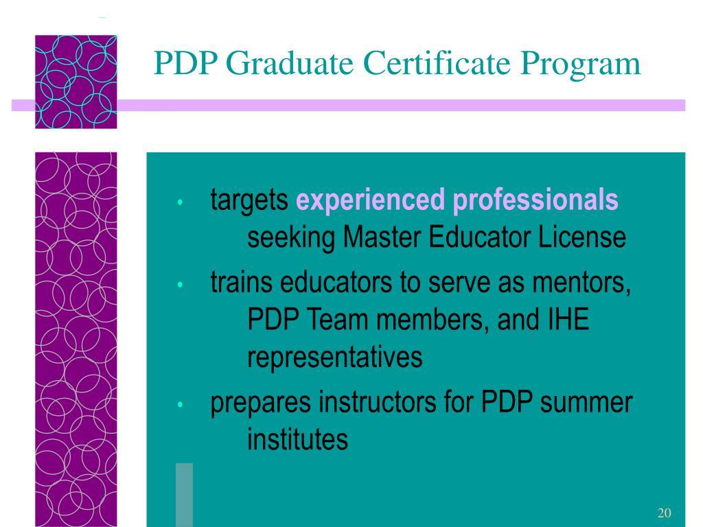 PDP Graduate Certificate Program