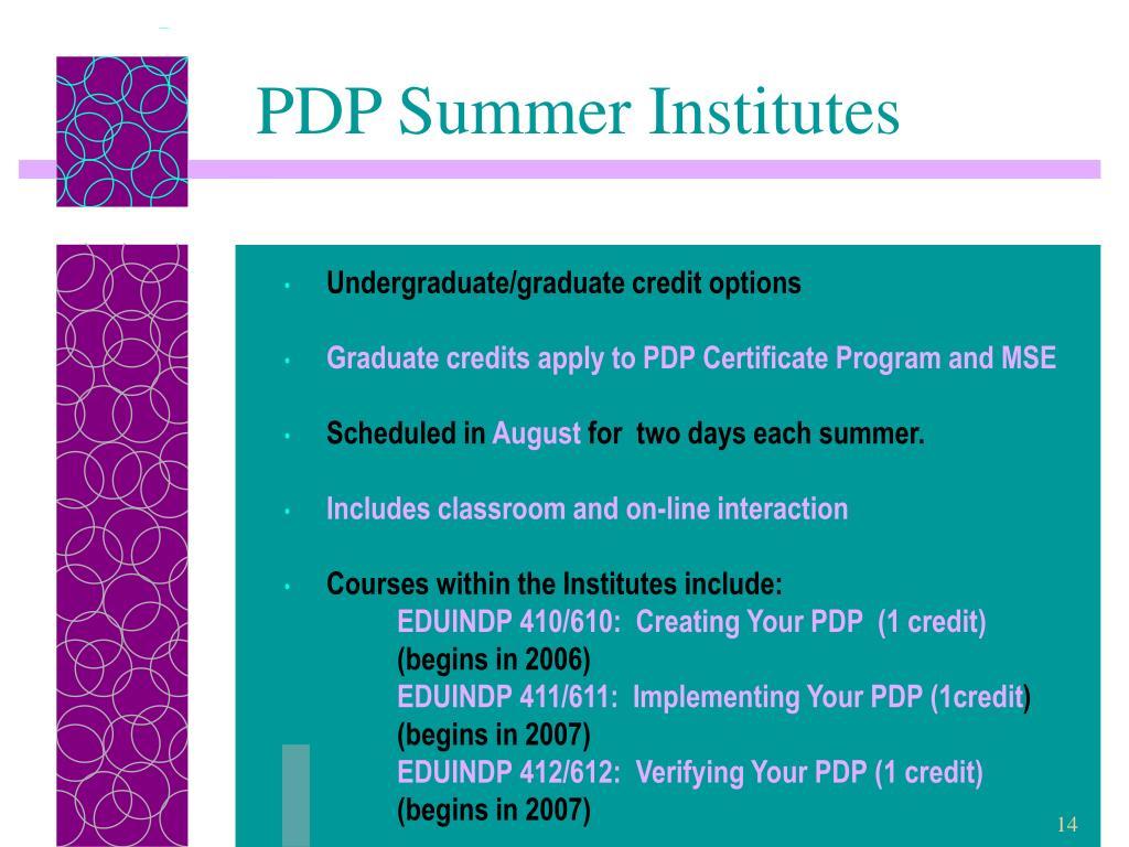 PDP Summer Institutes