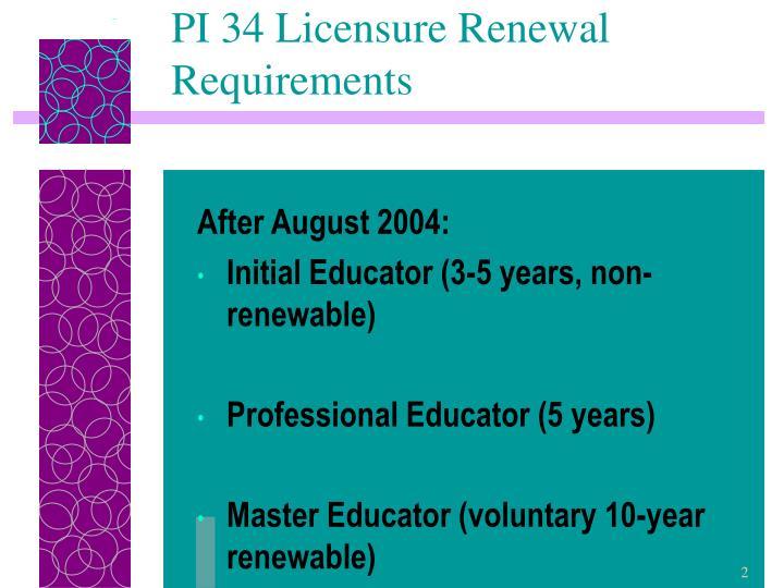 Pi 34 licensure renewal requirements
