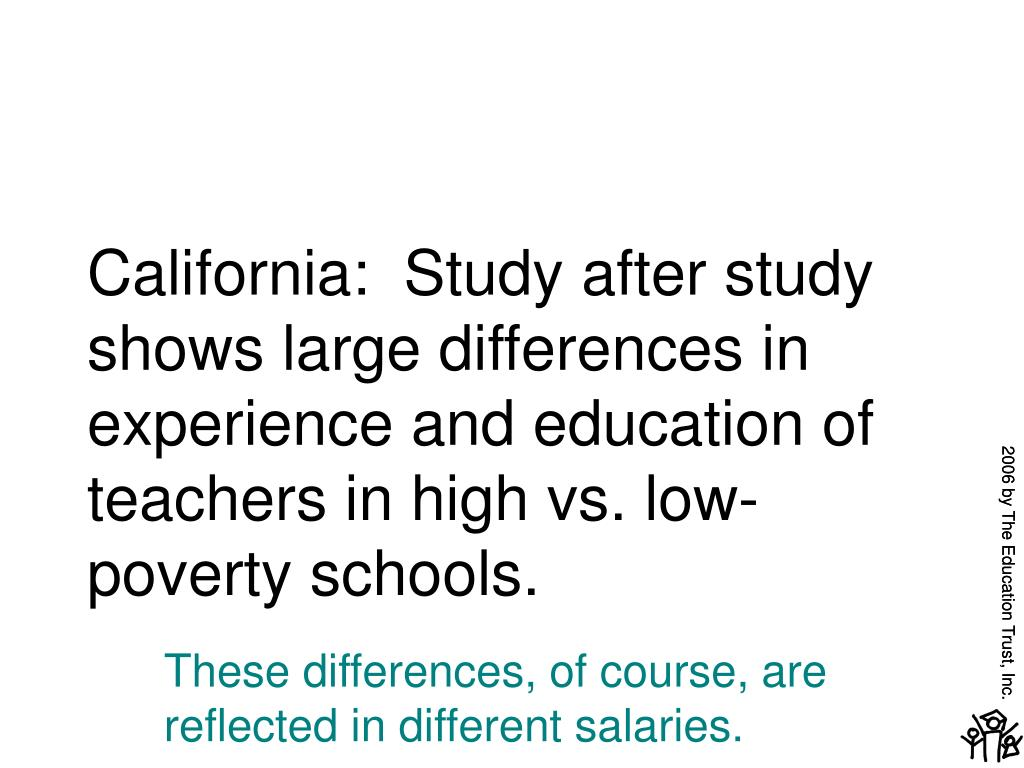 California:  Study after study shows large differences in experience and education of teachers in high vs. low-poverty schools.