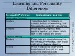 learning and personality differences