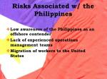 risks associated w the philippines