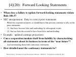 4 20 forward looking statements