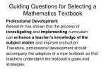 guiding questions for selecting a mathematics textbook26