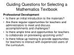 guiding questions for selecting a mathematics textbook27