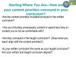 starting where you are how are your content priorities conveyed in your curriculum