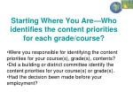 starting where you are who identifies the content priorities for each grade course