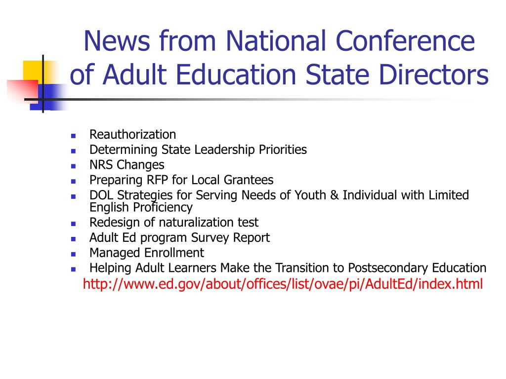 News from National Conference of Adult Education State Directors