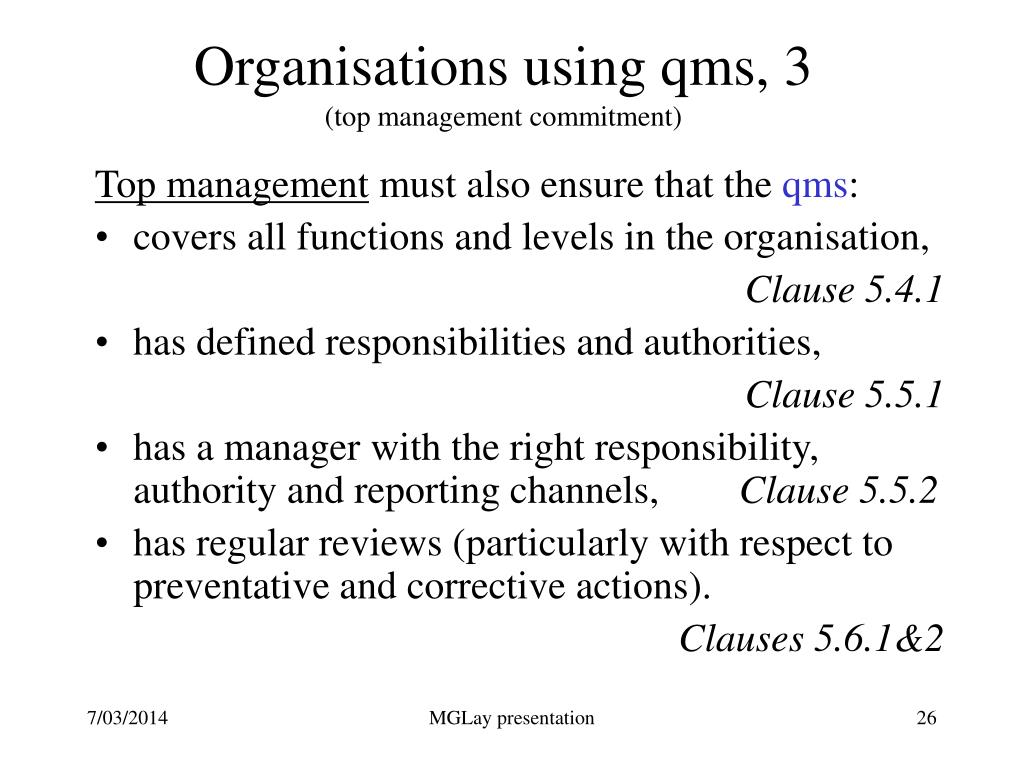 Organisations using qms, 3