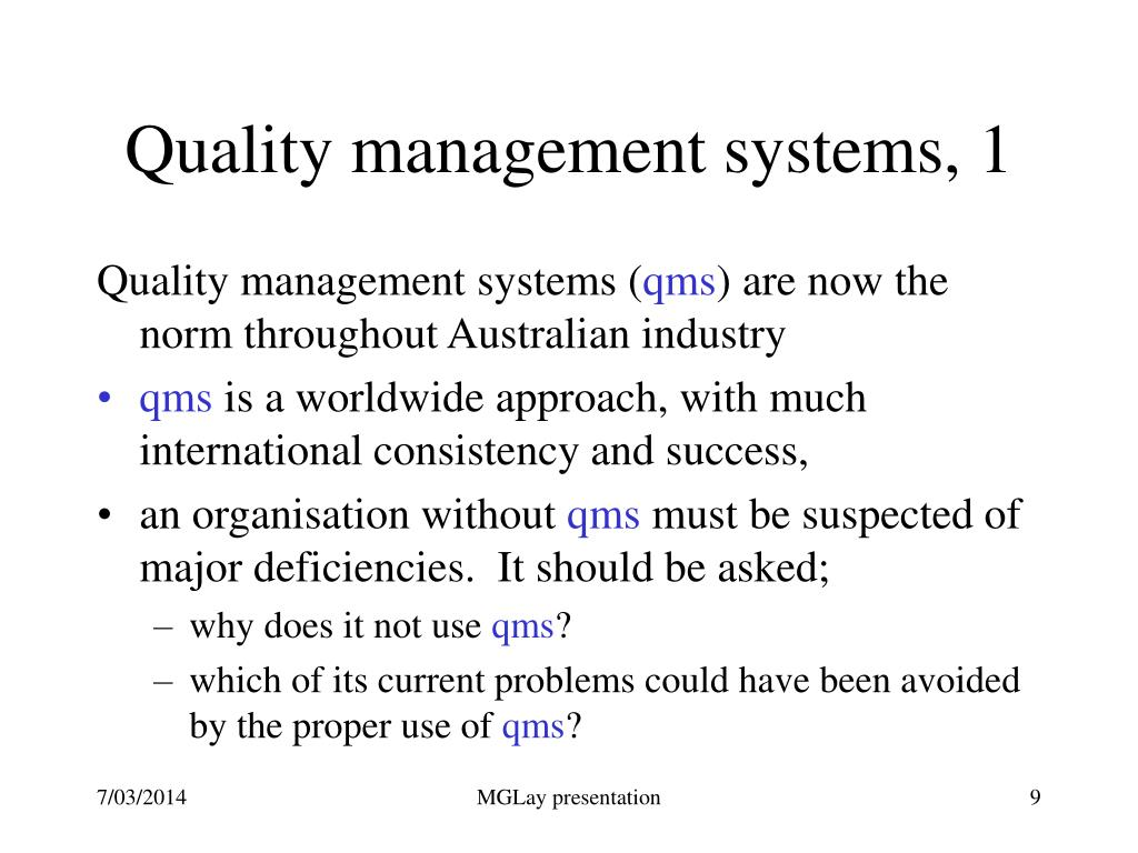 Quality management systems, 1