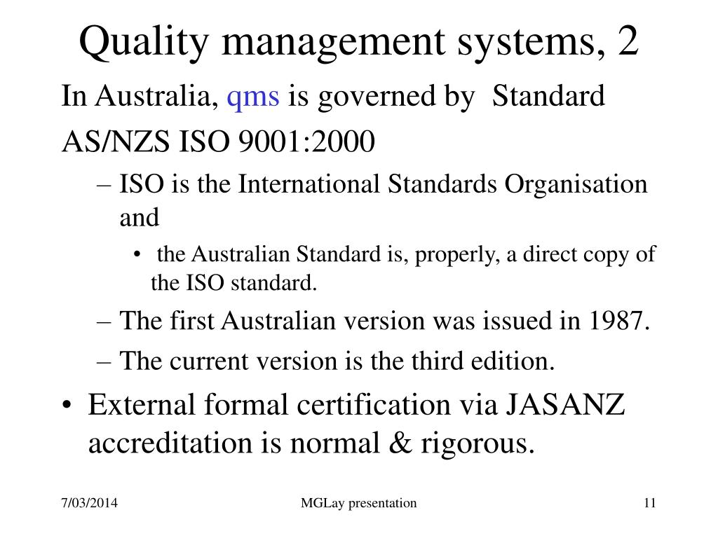 Quality management systems, 2