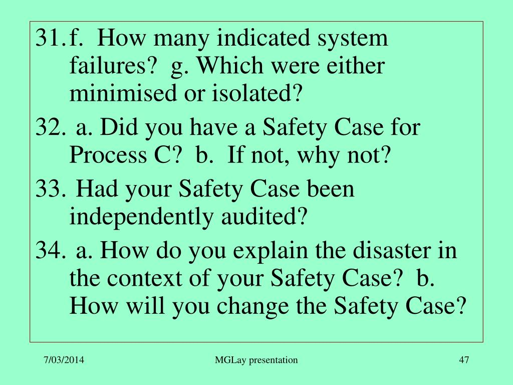 f.  How many indicated system failures?  g. Which were either minimised or isolated?