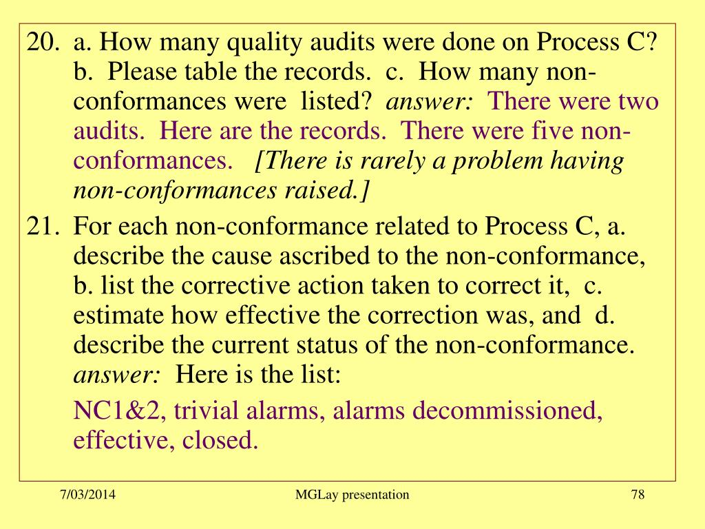 a. How many quality audits were done on Process C?    b.  Please table the records.  c.  How many non-conformances were  listed?