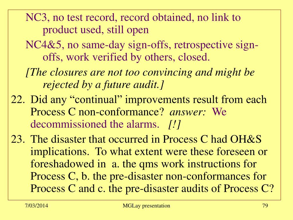 NC3, no test record, record obtained, no link to product used, still open