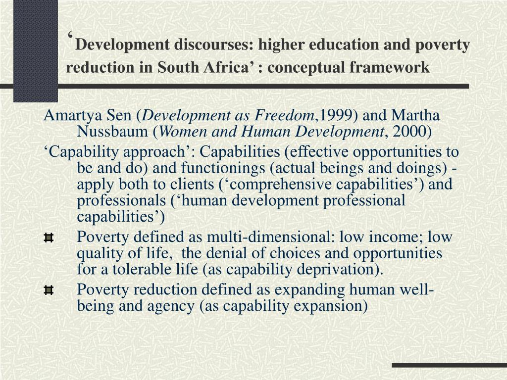 definitions of poverty and development