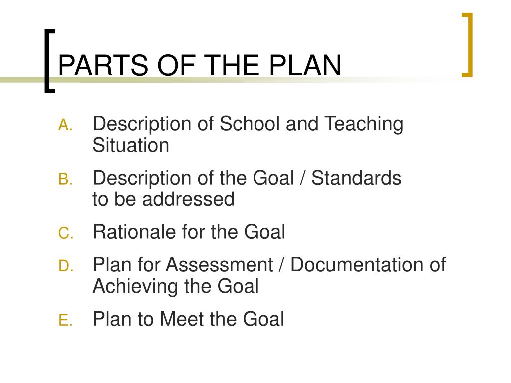 PARTS OF THE PLAN