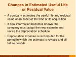 changes in estimated useful life or residual value