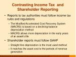 contrasting income tax and shareholder reporting