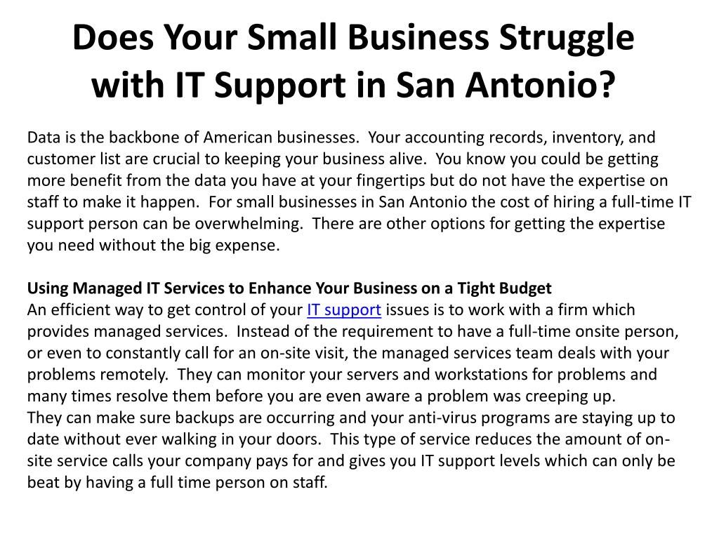 does your small business struggle with it support in san antonio l.