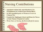 nursing contributions